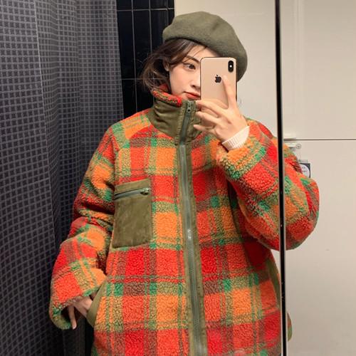 【アウター】韓国系切り替えチェック柄ファスナースタンドネックコート25615080