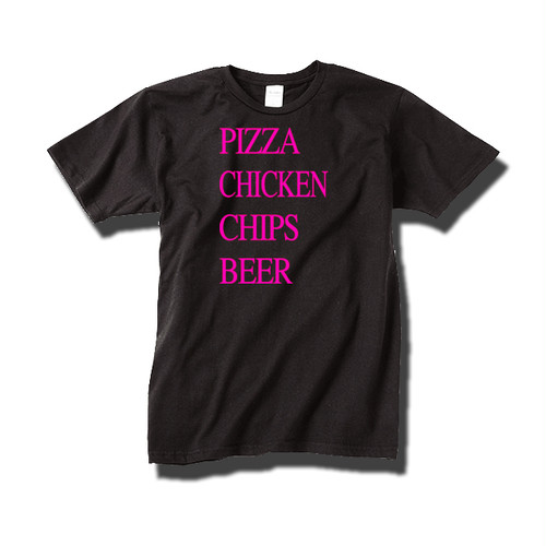 Tシャツ pizza chicken chips beer / pink