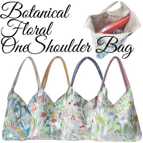 Botanical Floral One Shoulder Bag 落ち着いたボタニカル花柄が上品な仕上がり 肩にかけて持てるワンソルダー A4サイズも収納OK 軽量で使いやすい ボタニカルフローラルワンショルダーバッグ