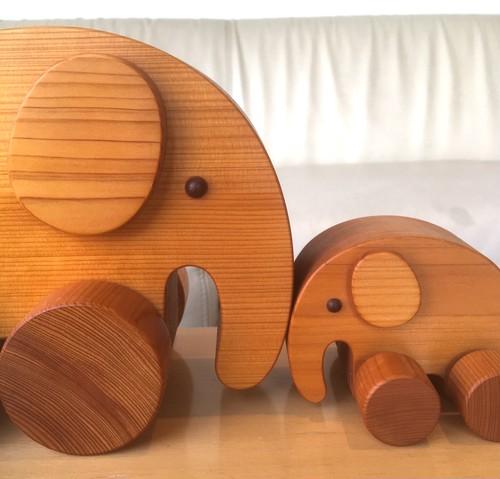 ゾウの親子  諸戸百年檜 未使用展示品