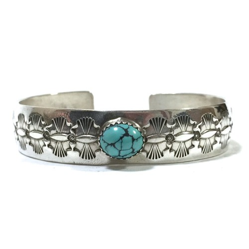 Navajo Vintage Sterling Silver & Turquoise Stamp Bangle