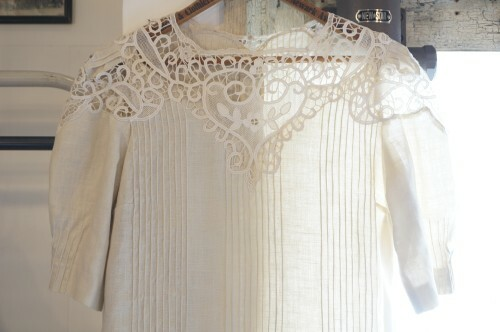 60's cutout hand-crochet linen Dress