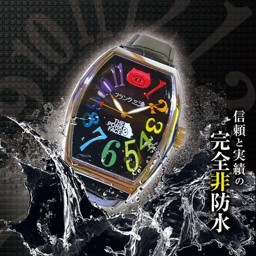 フランク三浦×THE PORK FACE ダブルネーム 腕時計 メンズ 革ベルト ブラック