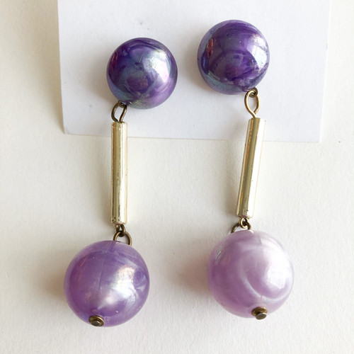 purple ball dangle pierce[p-704] ヴィンテージピアス