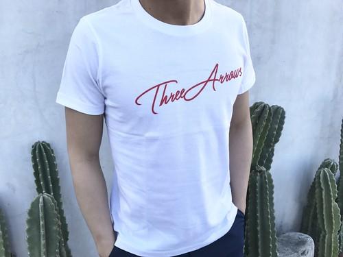 ThreeArrows Tシャツ(white×red)