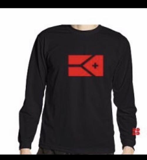 KYUS フラッグ ドライシルキー ロングスリーブTシャツ(ブラック×レッド)