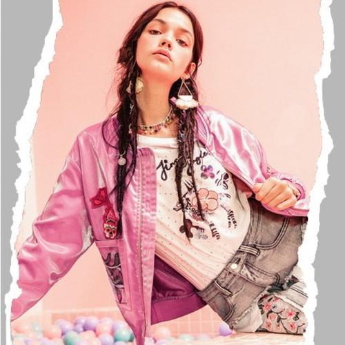 ピンク ジャケット ショート スポーティー 刺繍 カジュアル