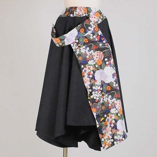 gouk 前和柄当て布付きフレアースカート   GGD26-S366 GY/M