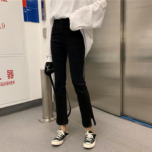 【ボトムス】新品ファッション簡約・シンプル無地スリットニズムパンツ22839004