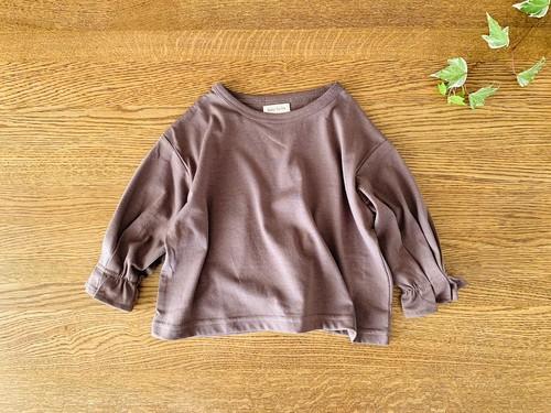 ボリュームスリーブの長袖シャツ・茶色 85cm~90cm