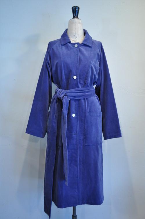 【RehersalL】cotton velour trench coat(blue salvia) /【リハーズオール】コットンベロア トレンチコート(ブルー サリヴィア)