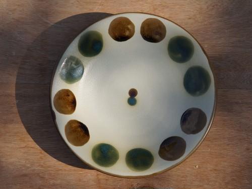 伝統の色合い丸紋緑釉 6寸皿(約18cm) ヤチムン大城工房 大城雅史 やちむん