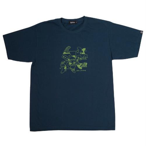 後染めプリントTシャツ ネイビー