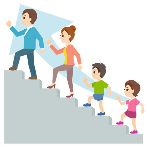 階段 ステップ 家族 4人