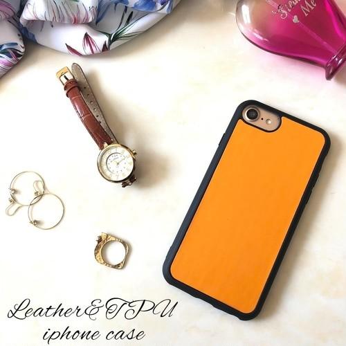 シンプルなおしゃれに iphone8 8plus iphoneX 7 7plus 6s 6splus SE 5s スマホケ―ス レザー&ソフトケース オレンジ