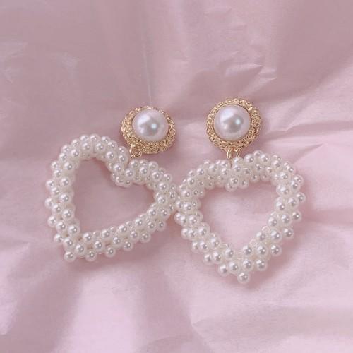 予約 girly pearl heart pierce