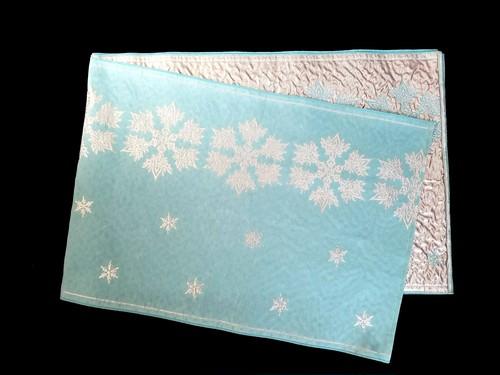織兵児帯 雪の結晶  水色×シルバー(リバーシブル)