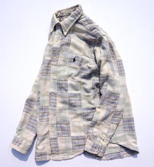 [Ralph Lauren] パッチワークボタンダウンシャツ ベージュ×ブルー系 表記(M) ラルフローレン
