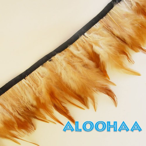 フェザーロール【ナチュラル】10-15cm丈 1m DIY 羽 衣装材料 タヒチアン