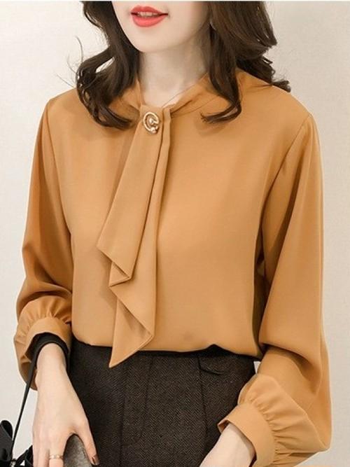 【トップス】シンプル無地リンボ飾り7分袖レディースファッション合わせやすいブラウス17894067