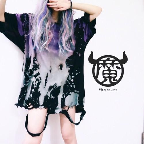 碧×紫◼︎サスペンダーダメージTシャツ