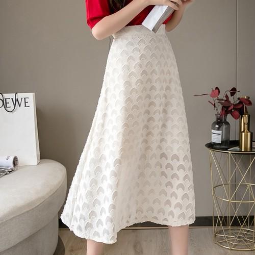 2色/透かしデザインフレアスカート ・16257