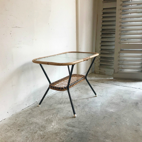 """Rohé"" Glass Top × Rattan Side Table 1960 オランダ A"
