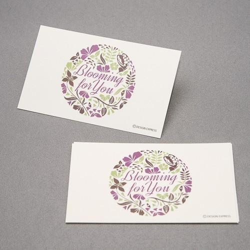 bloomingフラワーメッセージカード(緑/紫)