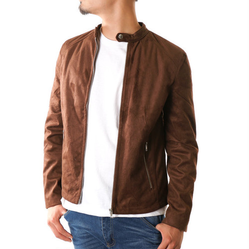 スウェードジャケット メンズ シングルライダース 黒 ベージュ ダークブラウン ジャケット スエード
