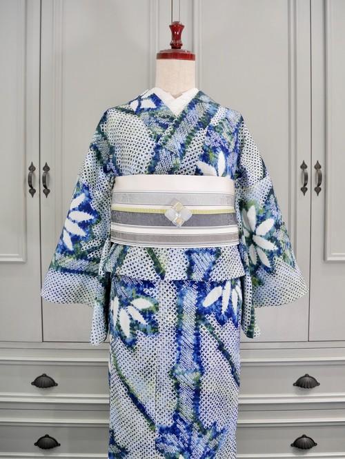 有松鳴海絞り浴衣*ブルーグリーンステンドグラスのような竹模様 0178