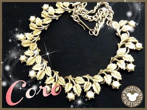 ヴィンテージCORO★エレガントなお花モチーフ☆クリームエナメルチョーカーネックレス