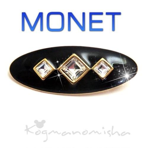 MONET☆艶やかな ブラックエナメル☆スクエア ラインストーン ヴィンテージ バー ブローチ,アールデコスタイル