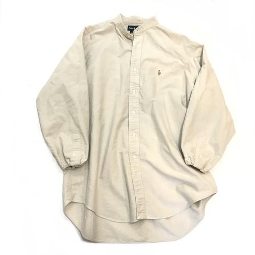 【USED】リメイク ラルフローレン ビッグサイズ バンドカラーシャツ 人気色 ベージュ 17-34
