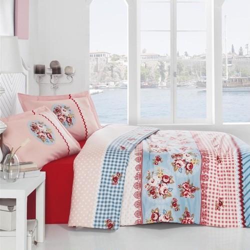 トルコ製 ダブル ベッドカバー 4点セット LACEROS レッド