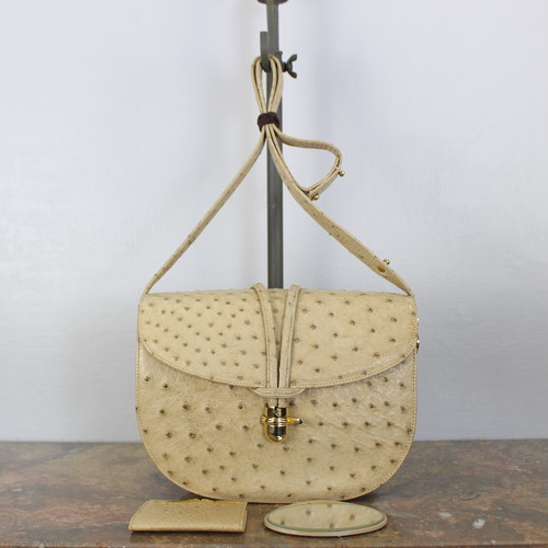 .COMTESSE OSTRICH LEATHER METAL LOGO SHOULDER BAG MADE IN WEST GERMANY/コンテスメタルロゴオーストリッチレザーショルダーバッグ 2000000039688