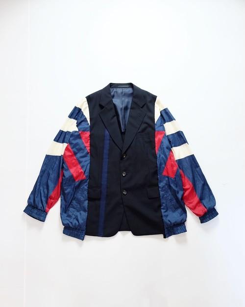 custom switching jacket  (multicolored nylon×black jacket)