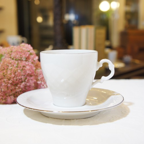 "50's-60's Vintage Signed ""BAVARIA [ババリア]"" White with Silver Edge Cup&Saucer   [CCV-27]"