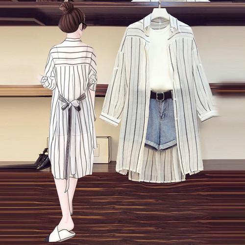 【set】気質アップ3点セット紫外線対策リボンシャツ+ショートパンツ+キャミソール