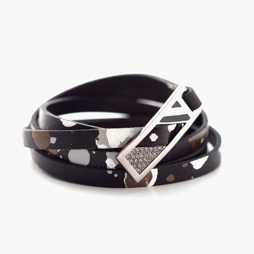 PAINTED LEATHER BRACELET BLACK