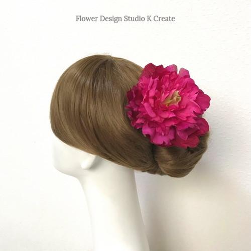 ローズピンクのピオニーのヘッドドレス ピンク 芍薬 ダンス 髪飾り レッド フラメンコ