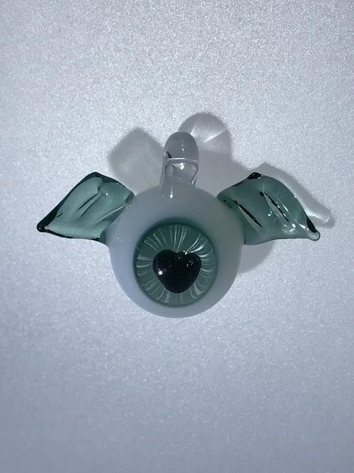 ハートの目玉 羽根付 緑