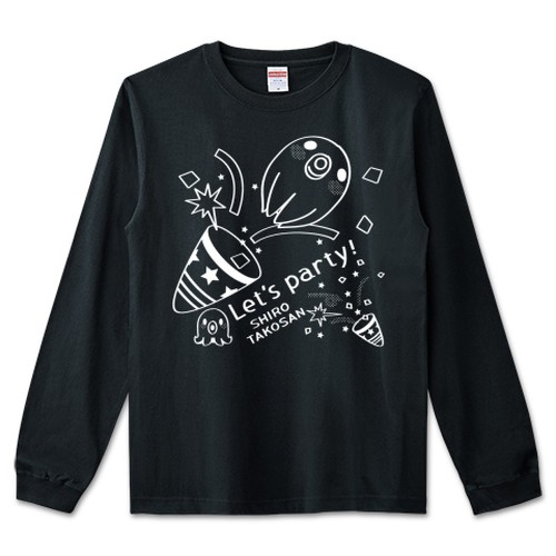 CT59 たこさんwinなー 白たこさんパーティ_D クラッカー / 5.6オンス リブ付きロングTシャツ (United Athle)