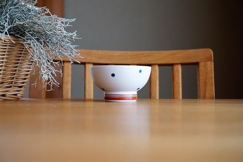 砥部焼/くらわんか茶碗(小)/水玉・赤ライン/すこし屋