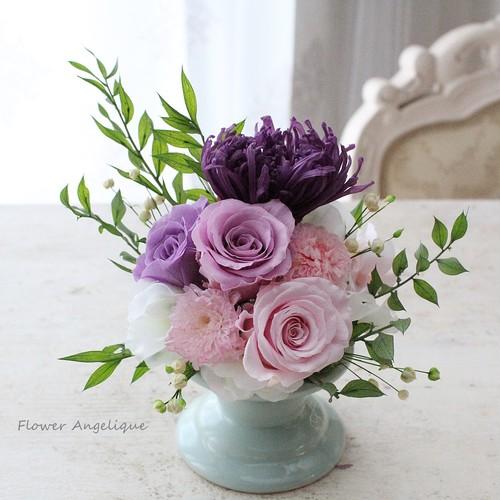 プリザ仏花(小)お手入れ要らずの美しいお供花♪