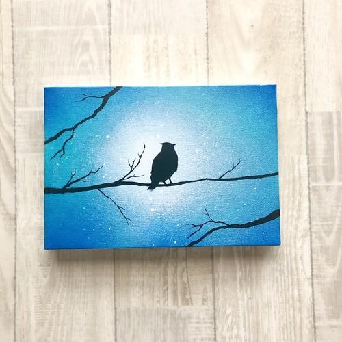 「森の梟」 キャンバスパネル風景画