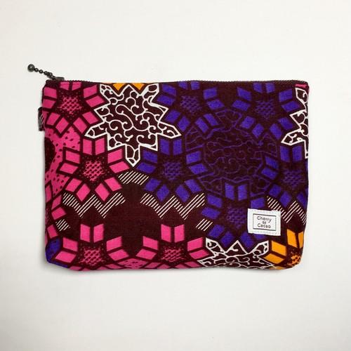ポーチ アフリカンテキスタイル(日本縫製) 「スノー」 ピンク x ブラウン x パープル x オレンジ|アフリカ エスニック ガーナ布