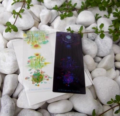 """透明しおり「和合-天地人-光と闇(陰陽)」2枚組 Plastic pair bookmark """"Concord ying and yan -heaven,earth and human-"""""""