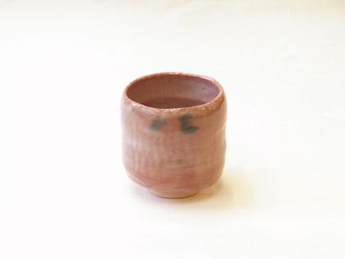 楽焼 松楽 作 筒茶碗 赤楽