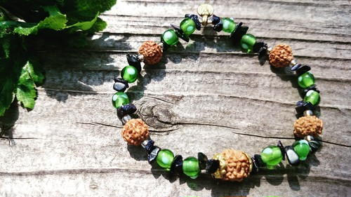 Spirit bracelet  BALI for YOGI  ~Rudraksha,color beads~