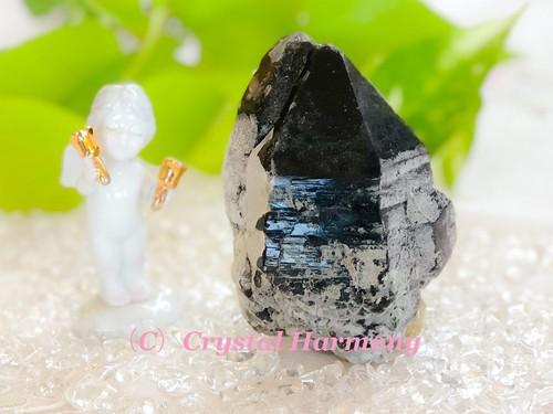 激レア!ガーネット入り 黒水晶(モリオン)H-25